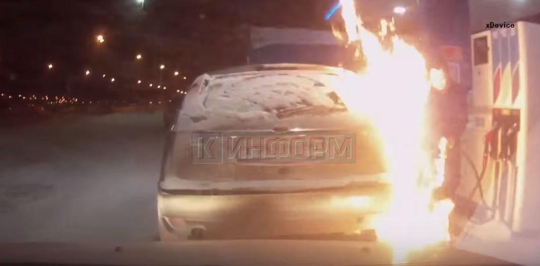 Когда Бог ума не дал!: Россиянка устроила «файер-шоу» на заправке