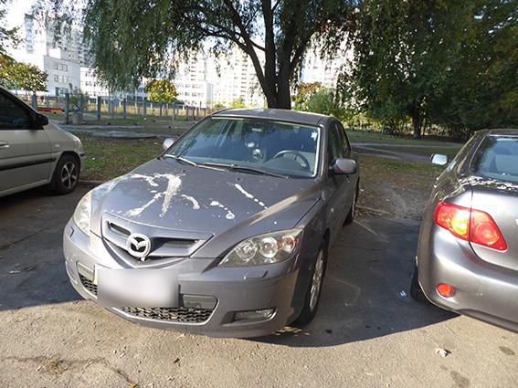 ВКиеве десятки авто  облили кислотой