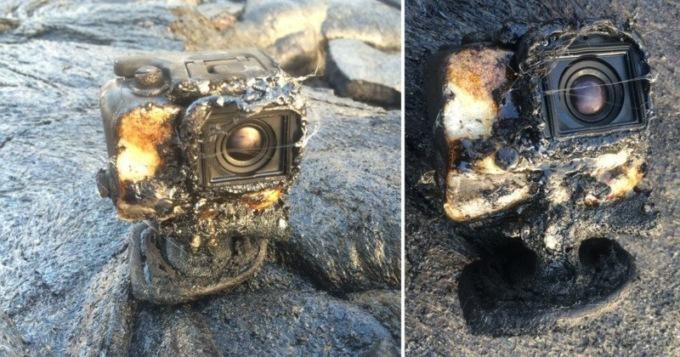 Камера упала впоток нагретой  лавы, однако  продолжила снимать