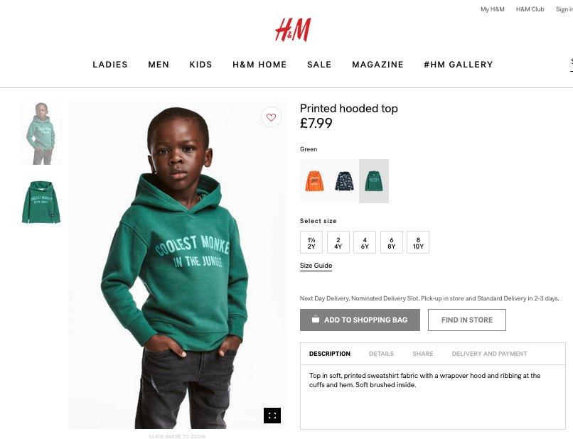 H&M извинился зафото темнокожего ребенка вхуди снадписью про обезьяну