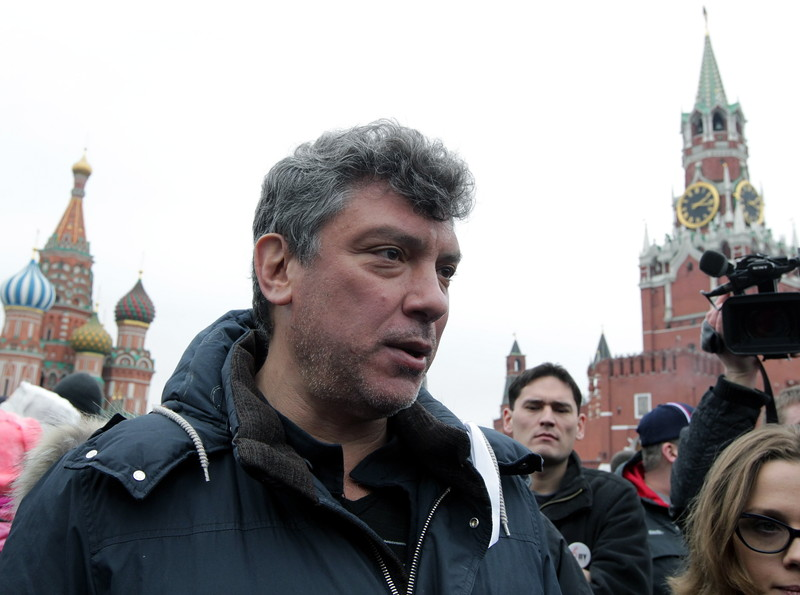 Opposition members protest on the Red square in Moscow